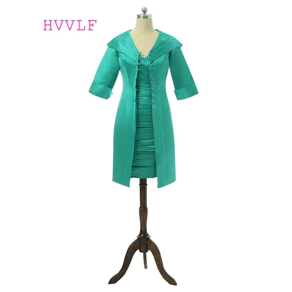 Green 2019 Mother Of The Bride Dresses Sheath V-neck Knee Length With Jacket Plus Size Formal Groom Mother Dress For Wedding