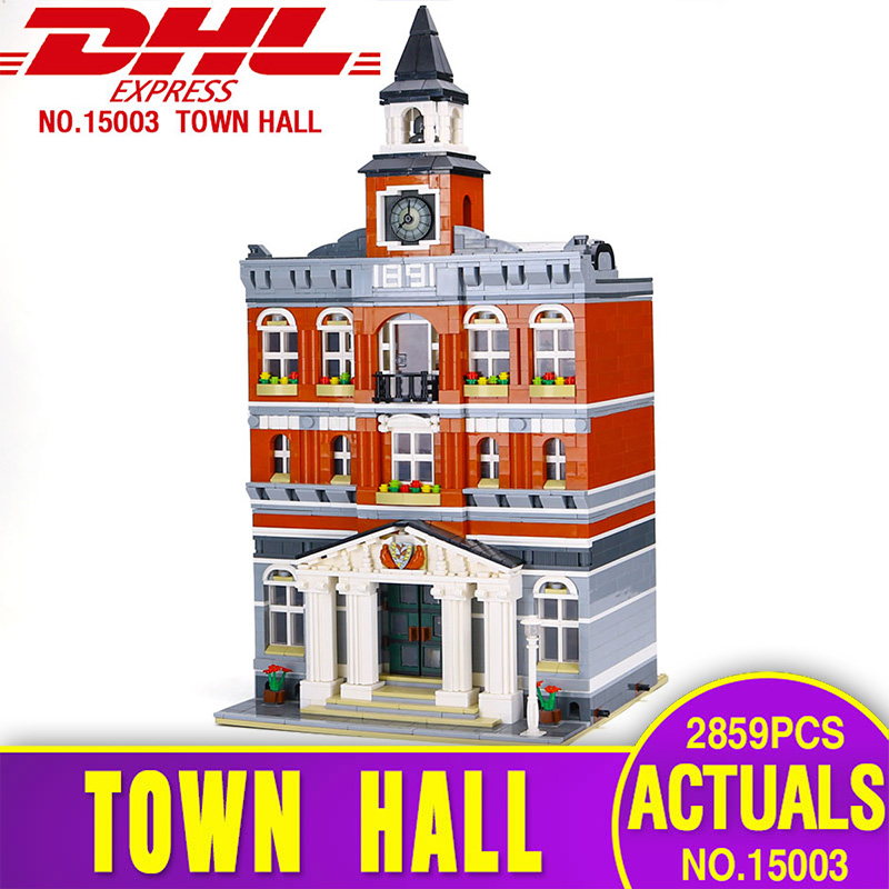 2017 New LEPIN 15003 Genuine 2859Pcs The town hall Model Building Blocks Kits Toy Gift Compatible With Gift 10224 for children cubicfun 3d puzzle paper building model assemble gift diy baby toy the hall of supreme harmony world s great architecture mc127h