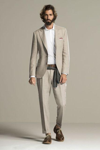 Ultimi Disegni della Mutanda del Cappotto Beige Lino Beach Vestito Da Uomo  Slim Fit 2 Pezzo 55a536d599a