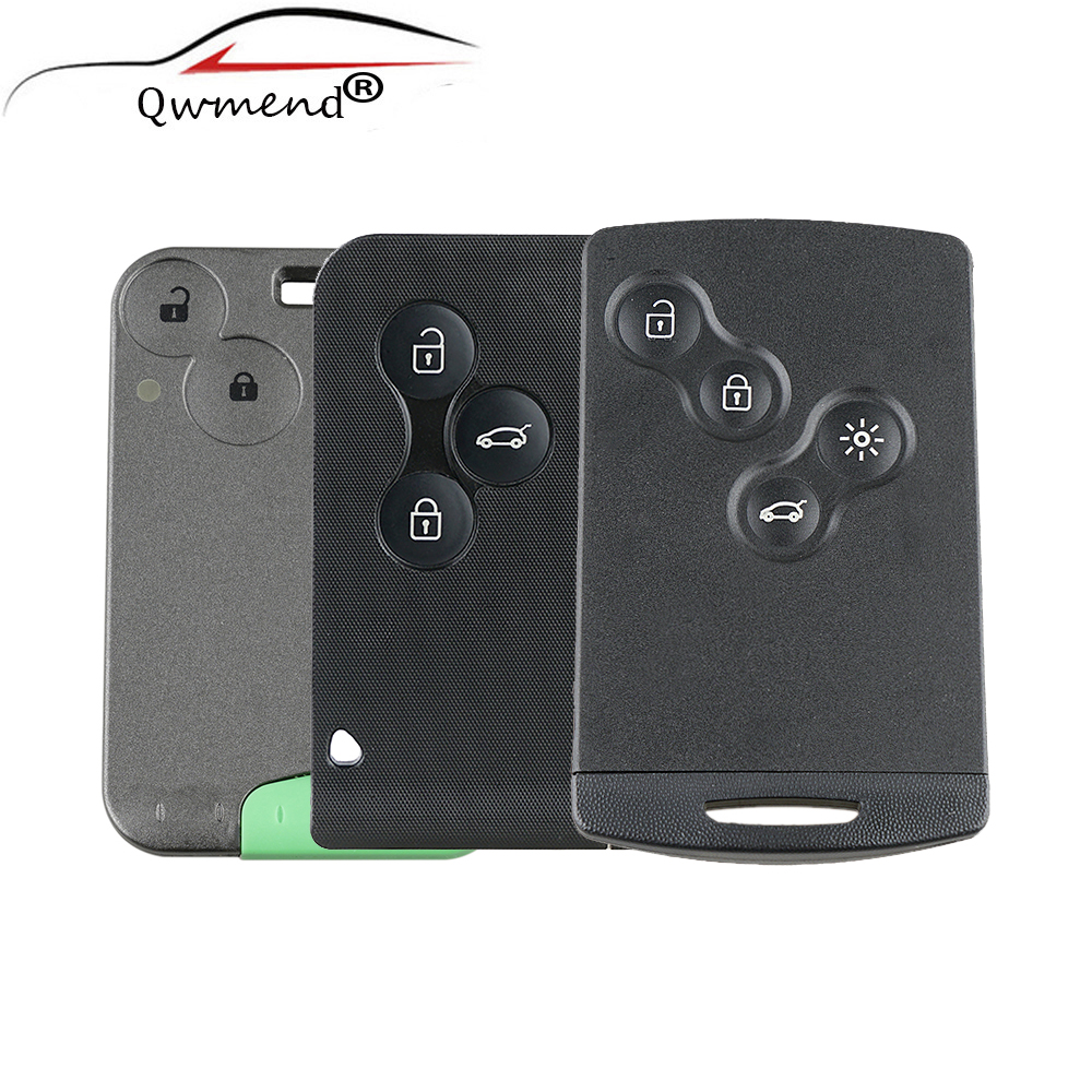 Remote SmartCard Key Case For RENAULT Laguna Koleos Smart Card 4 Button Key Shell WIth Insert Small Key Blade