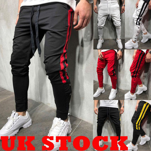 801ce29c1a30 Mens Gym Slim Fit Trousers Tracksuit Bottoms Skinny Joggers Sweat Track  Pants Pants leg buckle casual pants