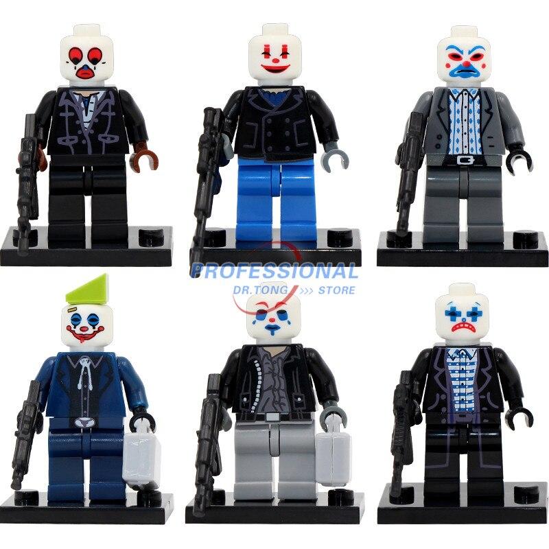 6pcs/lot PG8016 Bank Case Joker DC super heroes minifig Model Classic Toy Building Block Toys Fit Children Gift projector lamp bulb an xr20l2 anxr20l2 for sharp pg mb55 pg mb56 pg mb56x pg mb65 pg mb65x pg mb66x xg mb65x l with houing