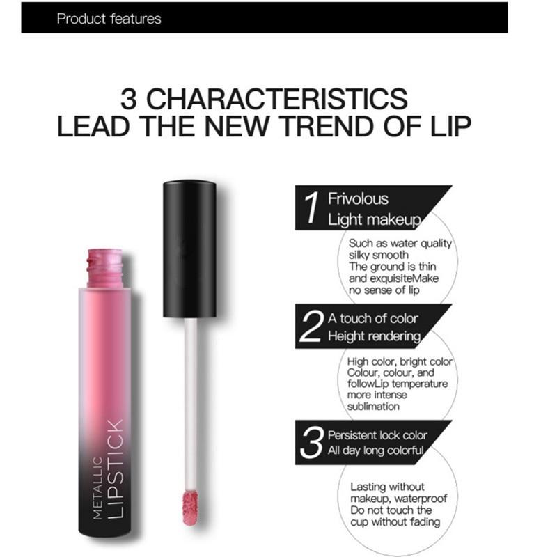 NEW 24 Colors Long Lasting Metallic Lip Gloss Red Velvet Matte Nude Liquid Lipstick Cosmetic Lips Makeup Women Gift Maquiagem 8
