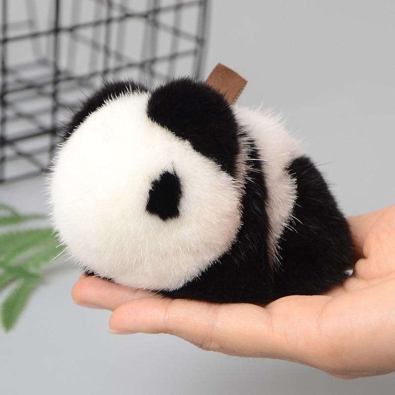 Cute Funny Fluffy Genuine Real Mink Fur Pom Pom Rabbit Fur Panda Keychain Bear Car Key Chain Women Bag Charm Accessories цены онлайн