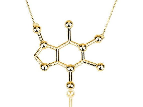 Jisensp новый простой кофеин молекула Цепочки и ожерелья Структура Пособия по химии Для женщин и Для мужчин Цепочки и ожерелья небольшой кулон длинной цепи Цепочки и ожерелья N137