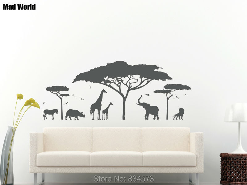 Perfect Mad World African Safari Zoo Elephant Silhouette Wall Art Stickers Wall  Decal Home DIY Decoration Gallery