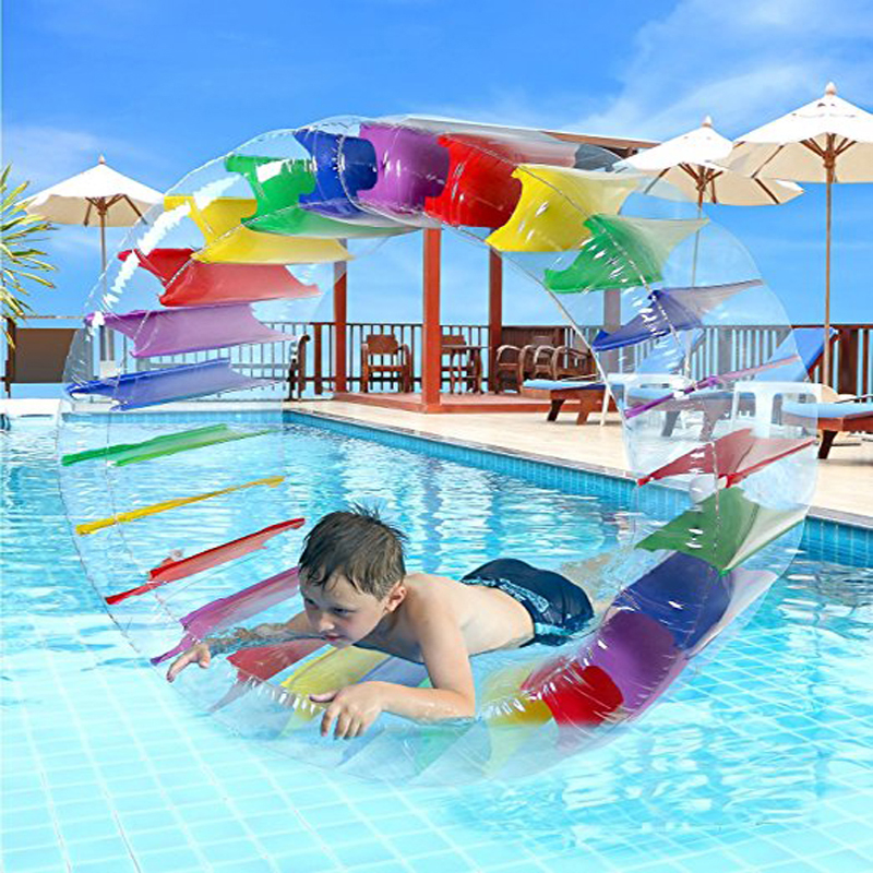100cm Giant Colorful Inflatable Water Wheel Roller Kids Swim Pool Float Roll Ball Water Balloons For Boys And Girls Beach Toys