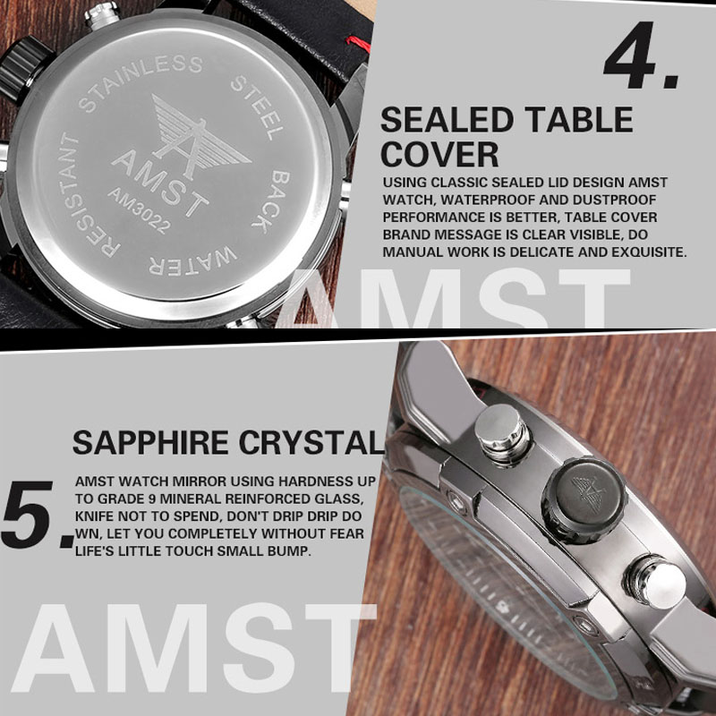 AMST NEW Men's Watches Quartz Watches Dual Display Multifunction Men Watch Leather Waterproof Clock Man Wristwatches Montre