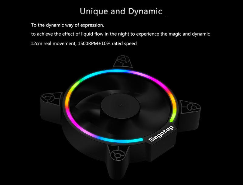 Купить с кэшбэком 2pcs Segotep Computer PC Case Fan RGB Light 12cm Ultra Silent Cooling Fans Cooler 120mm Quite 120x120x25mm Desktop 3/4pin
