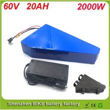 Triangle style 60V 20AH Portable Lithium Battery ,with 2000W BMS Chargrer , E-bike Electric Bicycle Scooter 60V Lithium battery