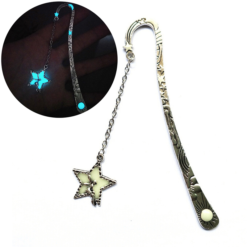 Star Flying Man Whale Tail Bookmark Luminous Glow In The Dark Metal Book Marker Gifts