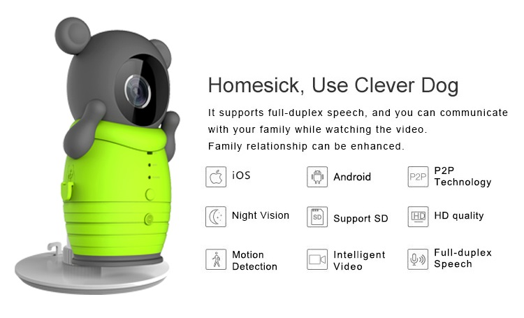 Clever Dog Smart Camera WiFi Wireless Baby Monitor Intelligent Alerts Night Vision Nanny Camera support iOS Android