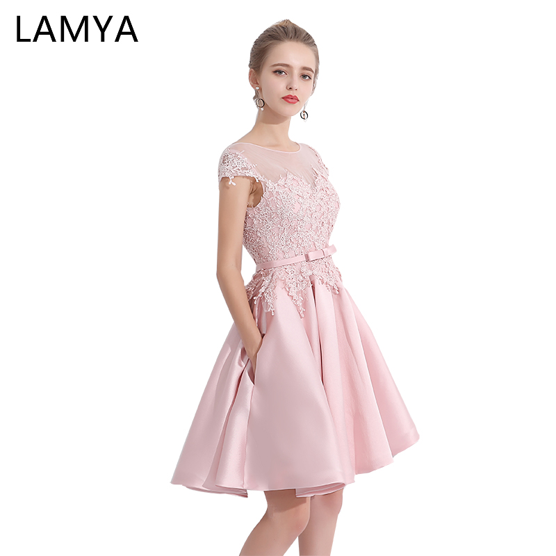 LAMYA 2018 Pink Lace Satin Women Short Prom   Dress   Elegant Wedding Party Gowns   Evening     Dresses   Vestido De Festa