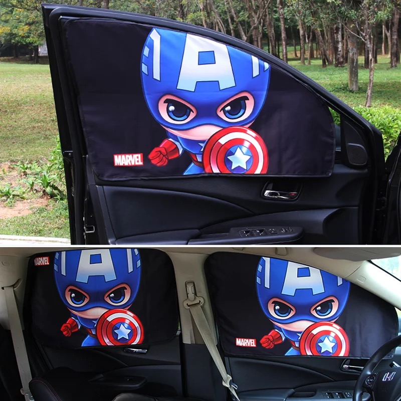 Image 2 - Car Window Sunshade Cover Marvel The Avengers Cartoon Magnetic Side Sun Shade Curtain Universal Side Window Sunshade-in Side Window Sunshades from Automobiles & Motorcycles