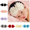 12Pcs/Lot Toddler Flower Pearl Rhinesotne Headband 12PColors Hairband For Infant Baby Girls Baby Hair Band Accessories