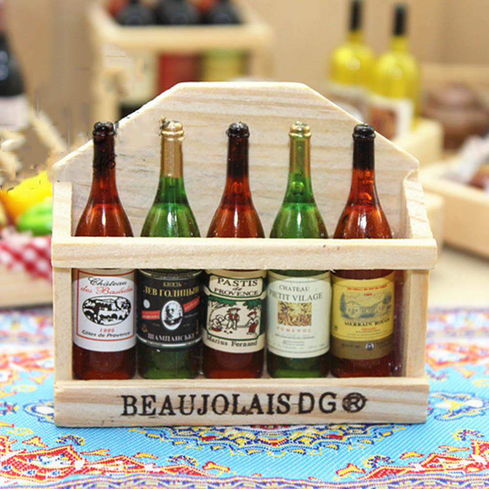 1/12 Dollhouse Miniature Accessories Mini Wine Bottle Set With Box Simulation Drinks Model Toys For Doll House Decoration