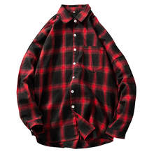 Checkered Men Shirt 2019 Spring Autumn New Long Sleeve Flannel Plaid Office Style Business Casual Shirts M-5XL