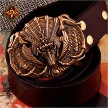 OGRM Bronze Buckle Gothic Jurassic Dinosaur Stegosaurus Belt Handmade Bronze Cowhide Leather Dragon Belt Buckles For Men