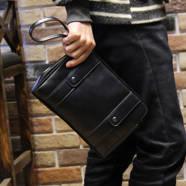 2016 новый Мужской сумка сумка конверт мешок мужчин, несущих большие мягкие кожаные сумки ручной поймали ультра-тонкий клип пакет тенденция бесплатная доставка