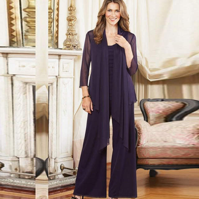 01d3a8b92d0 Online Shop 2015 Plus Size Mother of the Bride Pant Suits with jacket  Purple outfits Custom Made Chiffon Long Sleeve mother of the groom