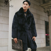 2018 Fashion Black Real Fox Fur Coat For Men's Winter Warm Coats and Jackets Long Outerwear Big Sale Wholesale Fur Jackets New