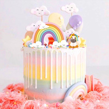 Colorful Unicorn Cake Topper New Rainbow Cloud Birthday Flag For Wedding Party Baking Decorations Baby Shower