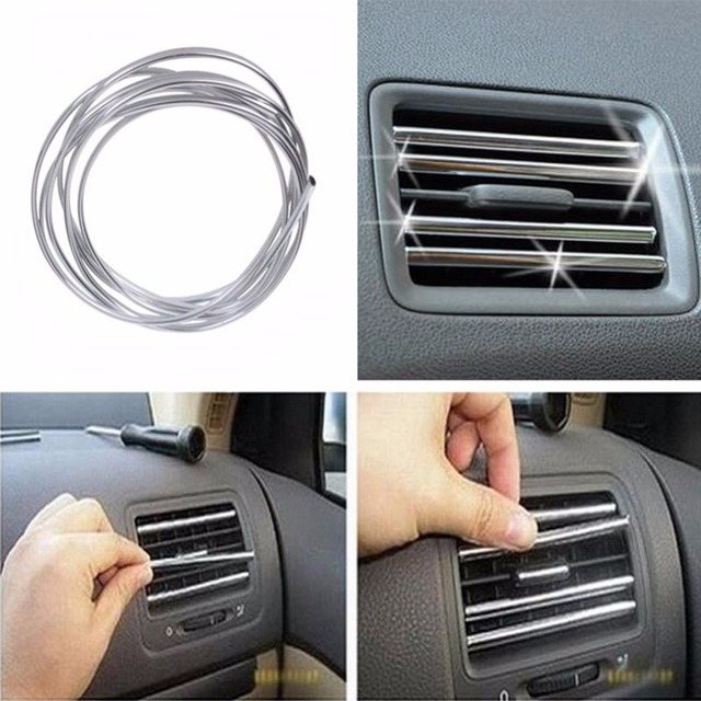 New 1/2M Car Interior Moulding Strips Decoration Line Door Dashboard Air Vent Steering-wheel Flexible Auto Accessories #281062