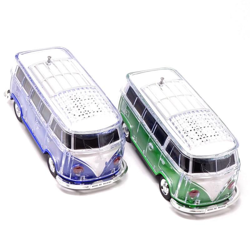 40Pcs/Lot BUS Bluetooth Speaker Colorful Mini Speaker Car Shape Mini Bus Speaker Sound Box MP3+U Disk+TF+FM+LED 7Color Function