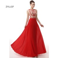 ZYLLGF Long Red Evening Dresses Made In China Sheath Sleeveless Rhinestone Beaded Evening Long Gown Chiffon