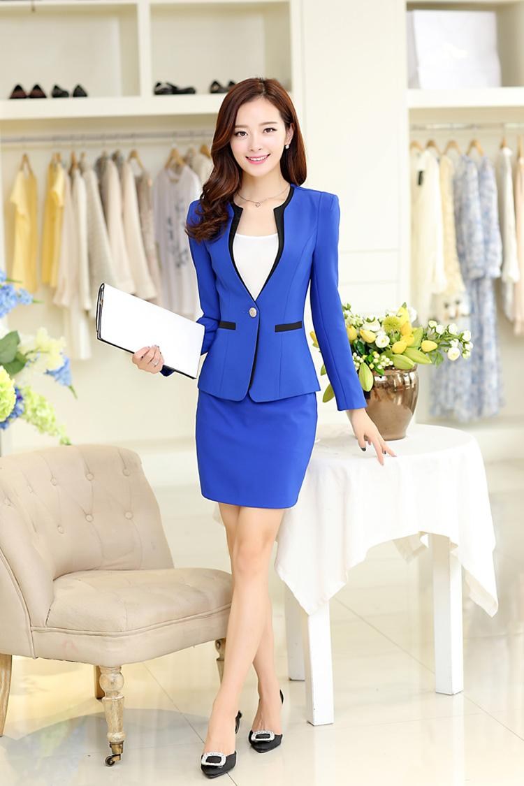 Rose Red Womens Business Suits Ladies Skirt Suits Female Office Uniform Suits