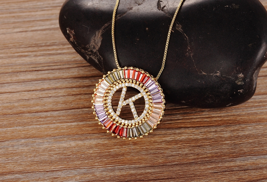 New Arrival Gold Color Micro Pave Rainbow CZ Cubic Zirconia A-Z Initials Letter Pendant Necklaces For Women Girls Fine Jewelry 4