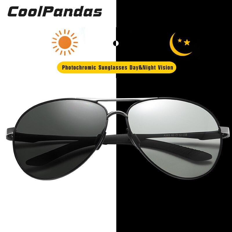 Top Brand Aviation Photochromic Sunglasses Men Polarized Chameleon Sunglasses Women Day Night Vision Driving gafas de sol hombre