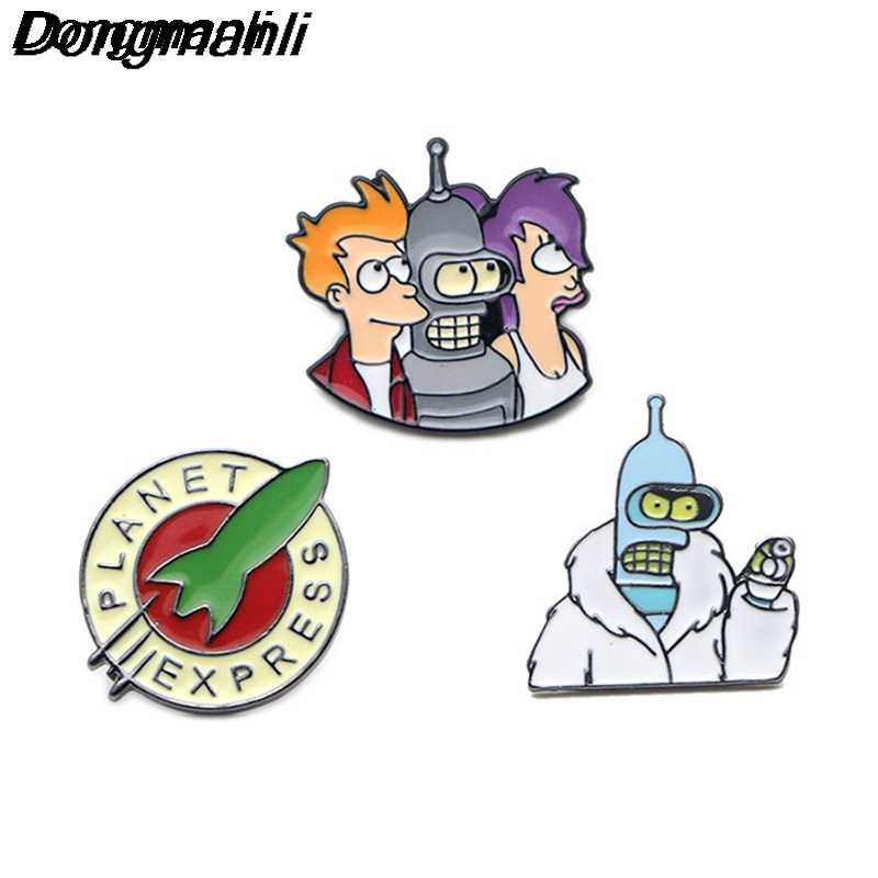 P2788 Dongmanli Futurama эмаль шпильки и броши для женщин мужчин нагрудные значки на рюкзак сумки значок куртка
