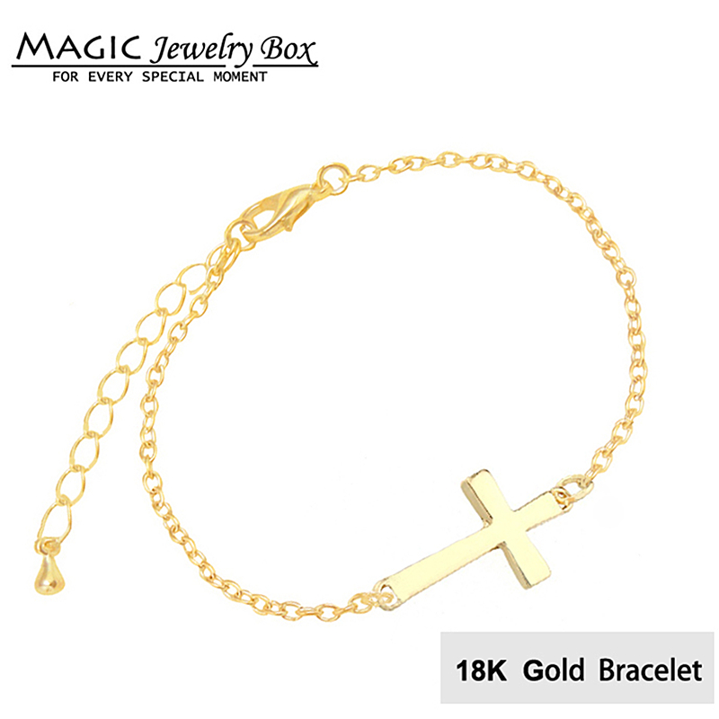 Magic World Silver Sideways Cross Bracelet Female Gold Chains Bracelets For Women Jewelry Gift Pulseras Mujer In Chain Link From