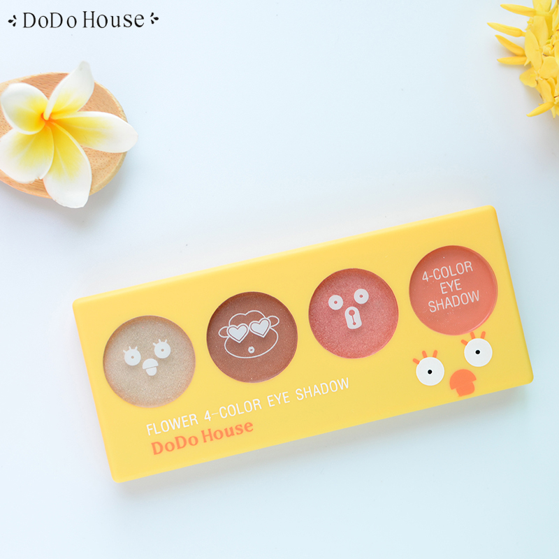 DoDoHouse 4 Colors Eyeshadow Palette Glamorous Smokey Eye Shadow Shimmer Colors Full Make Up Kit Natural Cosmetics With Brush для глаз cargo cosmetics you had me at aloha eye shadow palette