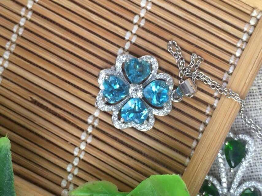 Натуральный голубой топаз камень кулон S925 серебро ...