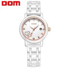 DOM mujeres estilo marca de lujo impermeable de los relojes de cuarzo reloj de cerámica reloj de la enfermera reloj hombre marca de lujo T-580