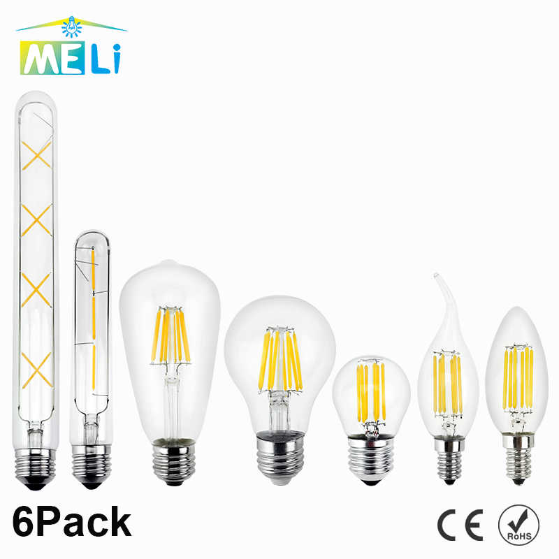 6pcs LED Edison Lamp 220V E27 E14 LED Filament Light Bulb 2W 4W 6W 8W Vintage Bulb Candle Glass Led Specialty Decorative Light