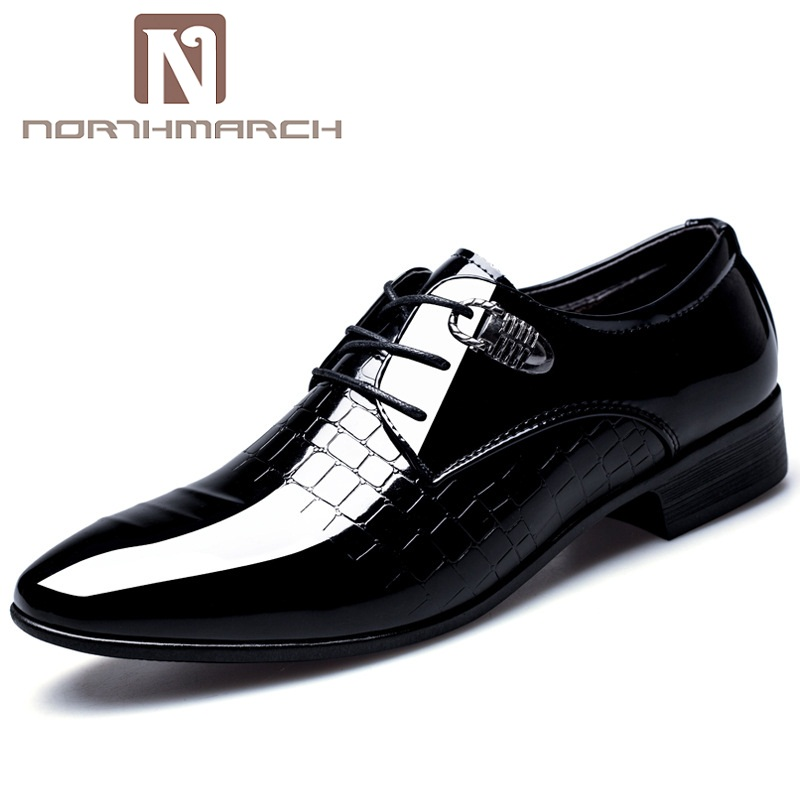 Northmarch Designer Luxury Brand Oxfords Shoes For Men Dress Shoes Patent Leather Crocodile Skin Formal Shoes Men Zapatos Hombre In Pain Shoes Formal Shoes