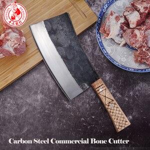 Image 5 - DENGJIA Metzger Messer Chinesische Traditionelle Manuelle Schmieden Carbon Stahl Kochmesser Knochen zu Schneiden Arbeitssparende Griff Chopper