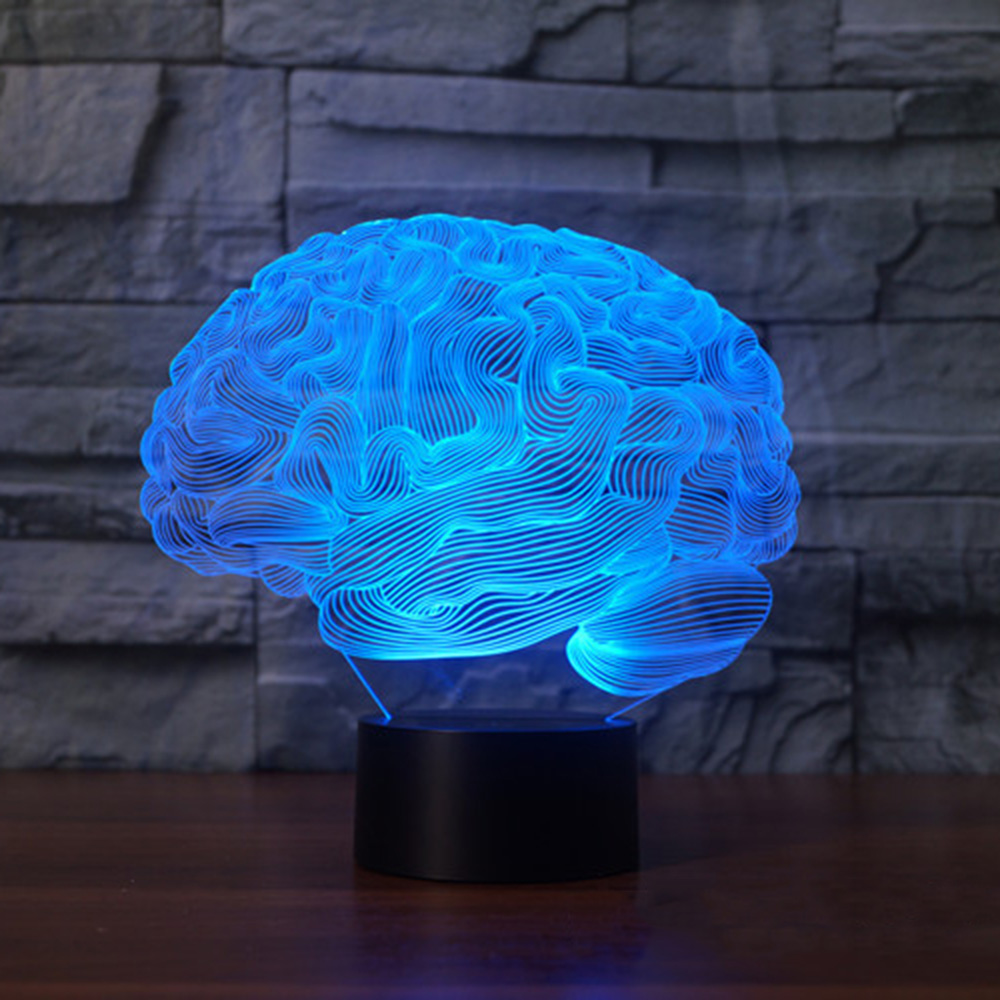 3D Illusion Lamp Brain Shape Color Changing Touch Switch LED Night Light Acrylic Desk Lamp Atmosphere Lamp Novelty Lighting