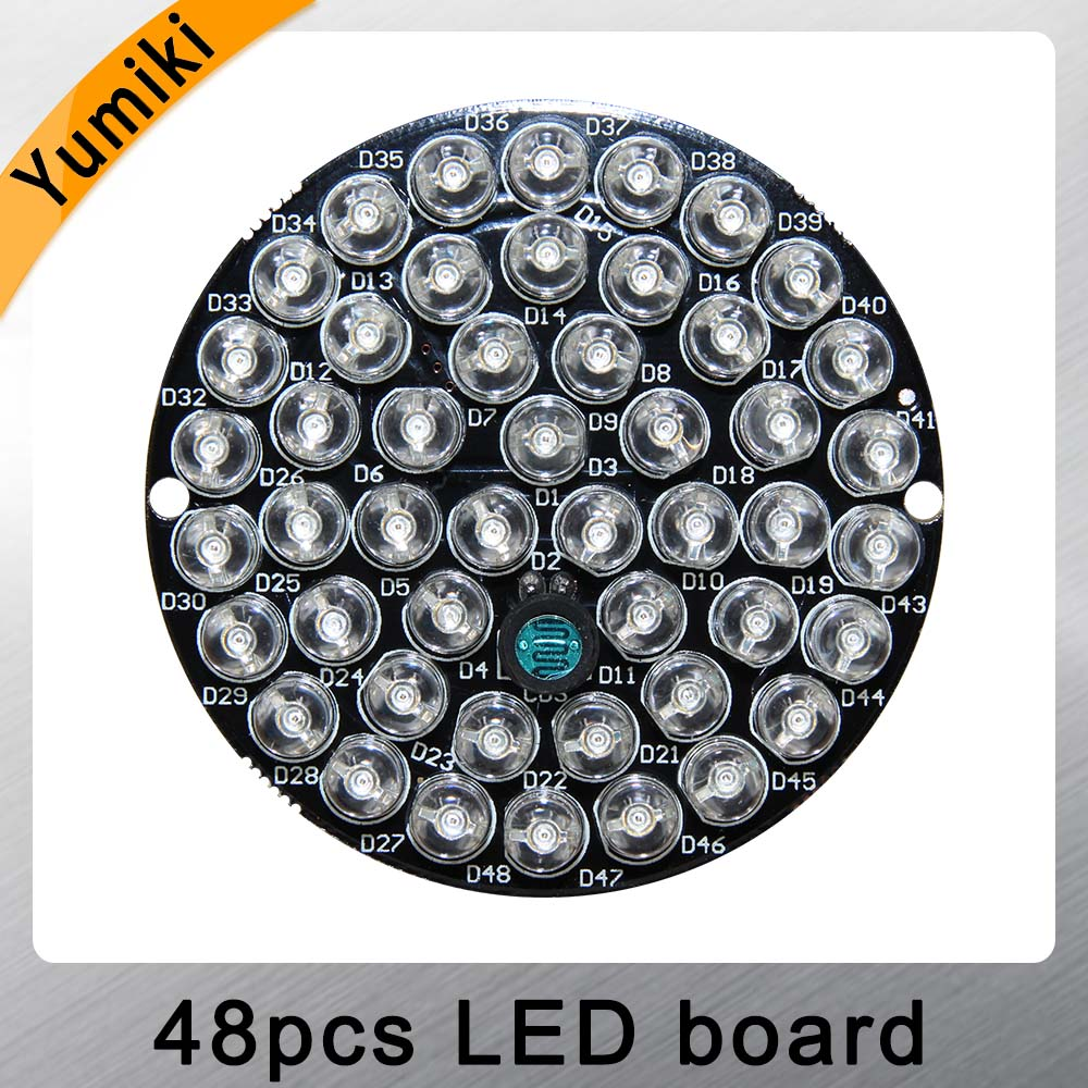 Yumiki 48pcs-LED 850nm Illuminator IR Infrared Board Night Vision Light Lamp For 50 CCTV Camera Housing
