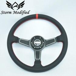 SuTong wysokiej jakości 14 ''350mm czarny prawdziwa skóra ND Rally Tuning Drift SPCO Racing kierownica 5159BK