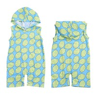 Infant Baby Boy Girl Romper Lemon Print Sleeveless Hoodie Jumpsuit Kids Overalls Clothes