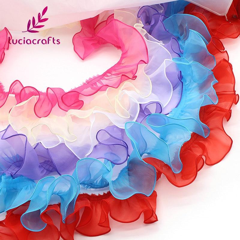 Lucia crafts 2y/lot Approx 8.5cm Organza Lace Fabric Trim Ribbons DIY Sewing Garment Handmade Materials Accessories U0103