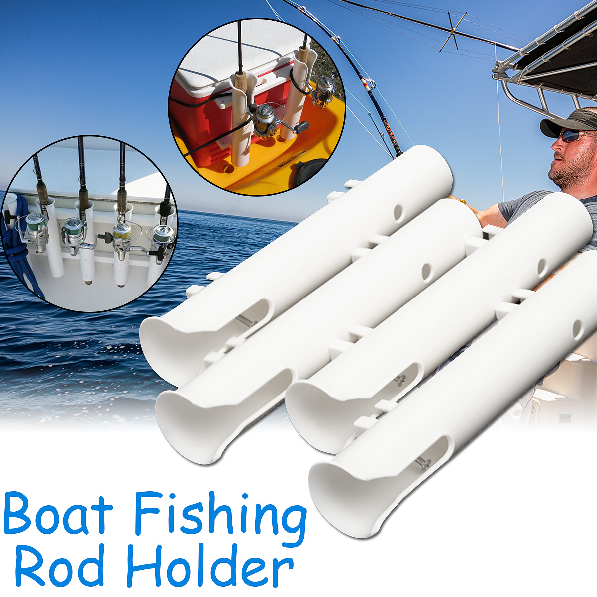 Bobing 4Pcs/lot Plastic 1 Tube Boat Fishing Rod Holders Marine Fish Rod Pole Stand Support Holder Outdoor Fishing Tools