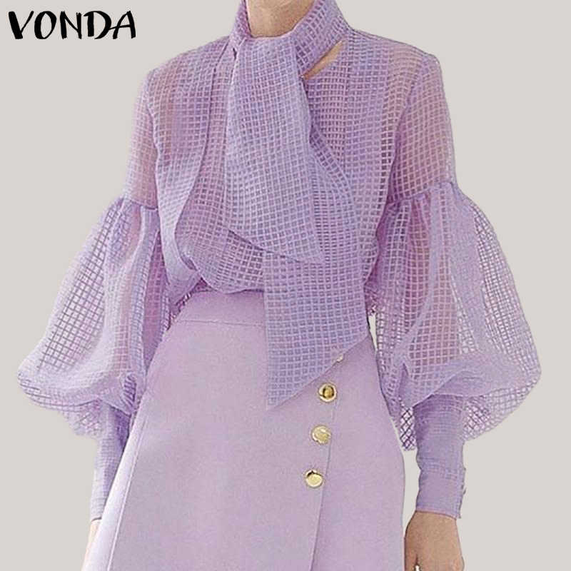 VONDA Plus Size Women Mesh Blouse Sexy Hollow Out Lantern Sleeve Tops Elegant Ladies Shirts With Scarf 2019 See Through Blusas