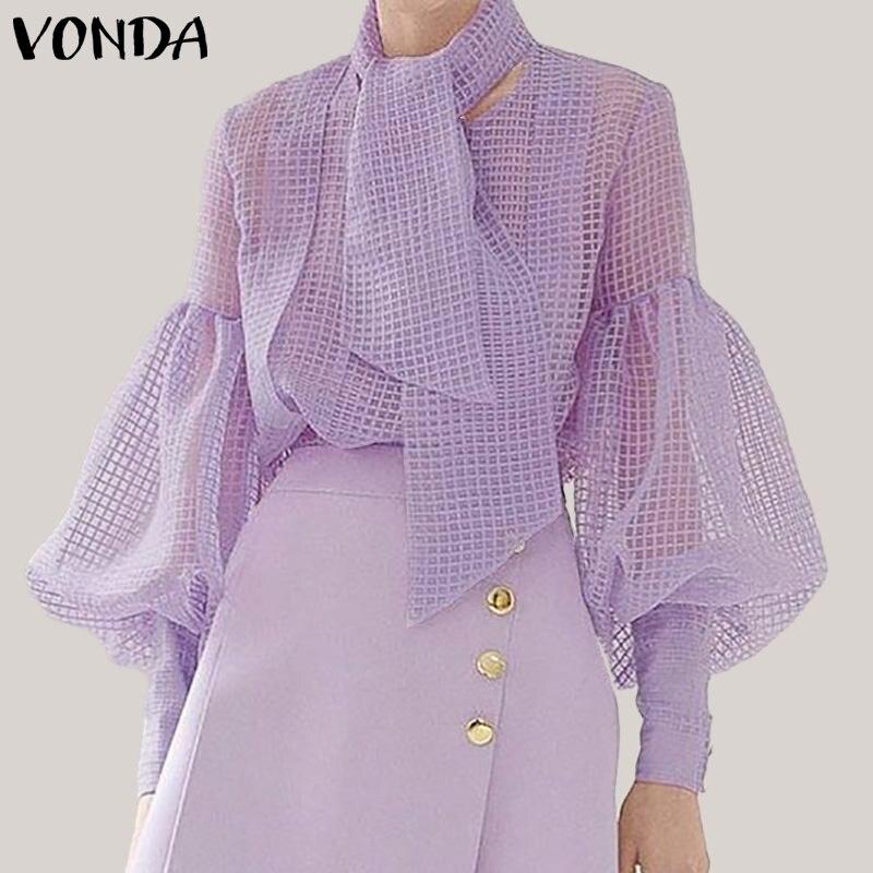 VONDA Plus Size Women Mesh   Blouse   Sexy Hollow Out Lantern Sleeve Tops Elegant Ladies   Shirts   With Scarf 2019 See Through Blusas