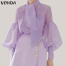 VONDA Women Mesh Blouse Sexy Hollow Out Lantern Sleeve Tops Elegant Ladies Shirts With Scarf 2019 See Through Blusas Plus Size