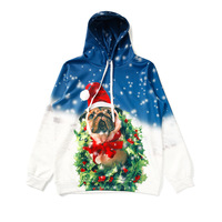 2017 Snow Christmas Gift Bulldog Hoodies Women Sweatshirt Dog Print Hoodie Pullover Girl Funny Winter Party